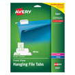 Avery Printable Hanging File Tabs for Laser and Inkjet Printers, 1/5 Cut (9 Labels/Sheet) (10 Sheets/Box)
